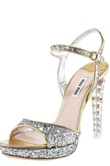 Miu Miu Glittered Leather Platform Sandal - Lyst
