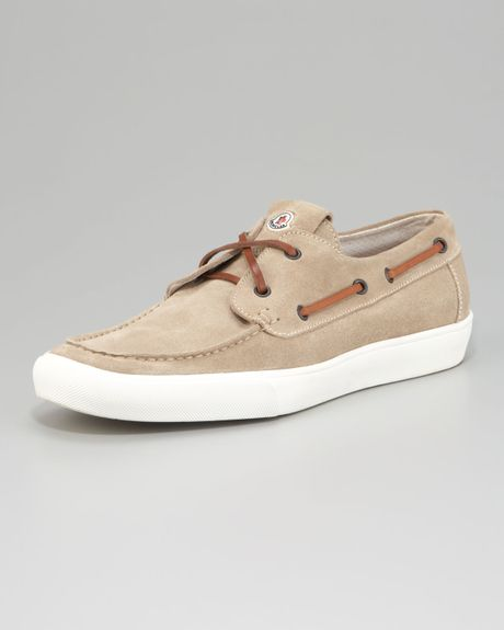 moncler suede boat shoe in beige for lyst