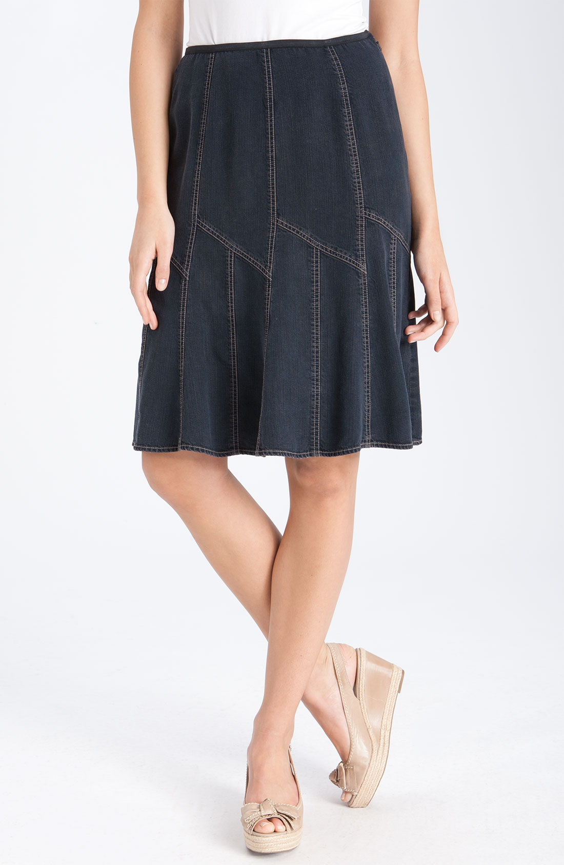 Nic + Zoe Denim Flirt Skirt in Blue (deep indigo)