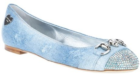 Philipp Plein Denim Ballet Pump in Blue (denim) - Lyst