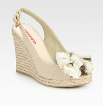 Prada Canvas Slingback Espadrille Wedge Sandals - Lyst