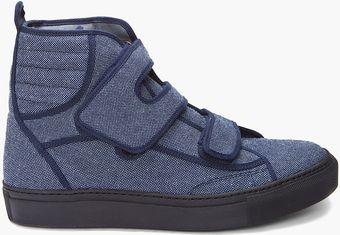 Raf Simons High Denim Velcro Sneakers - Lyst