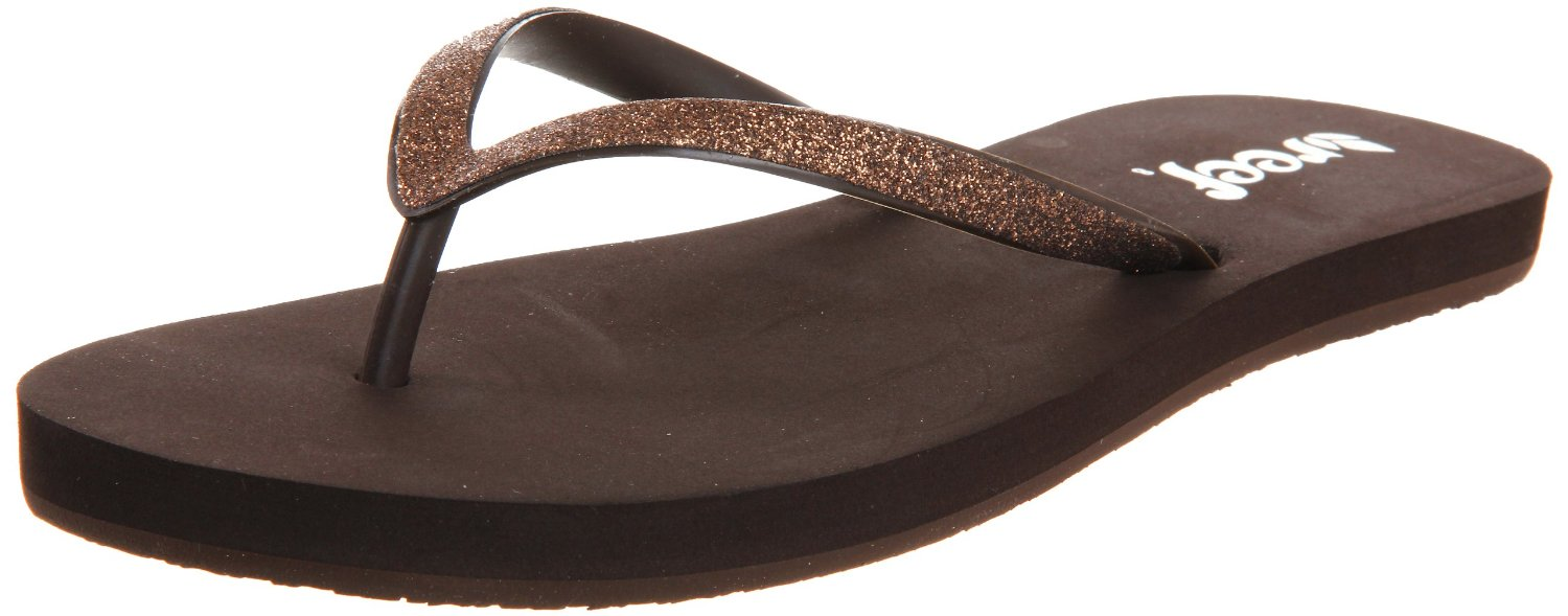 Awesome Reef Womens Fanning Flip Flops Brown White
