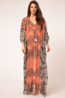 River Island Orange Ethnic Print Maxi Kaftan - Lyst