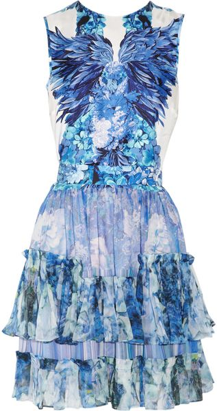 Roberto Cavalli Floral-Print Silk-Satin And Silk-Chiffon Dress - Lyst