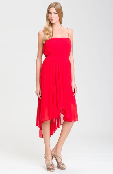 Suzi Chin For Maggy Boutique Spaghetti Strap Asymmetrical Dress in Red (chili) - Lyst