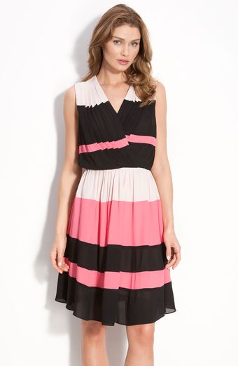 Taylor Dresses Stripe Georgette Dress - Lyst