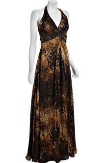 Theia Chocolate Splatter Print Silk Embellished Evening Gown - Lyst