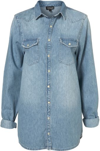Topshop Oversized Denim Shirt - Lyst