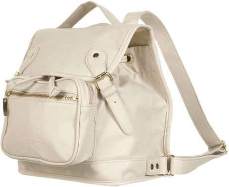 Topshop Cream Buckle Backpack in Beige (cream) - Lyst