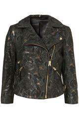 Topshop Metallic Snakeskin Leather Jacket in Green - Lyst