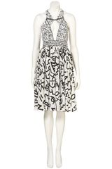 Topshop Hieroglyph Piped Halter Dress By Unique** in White - Lyst