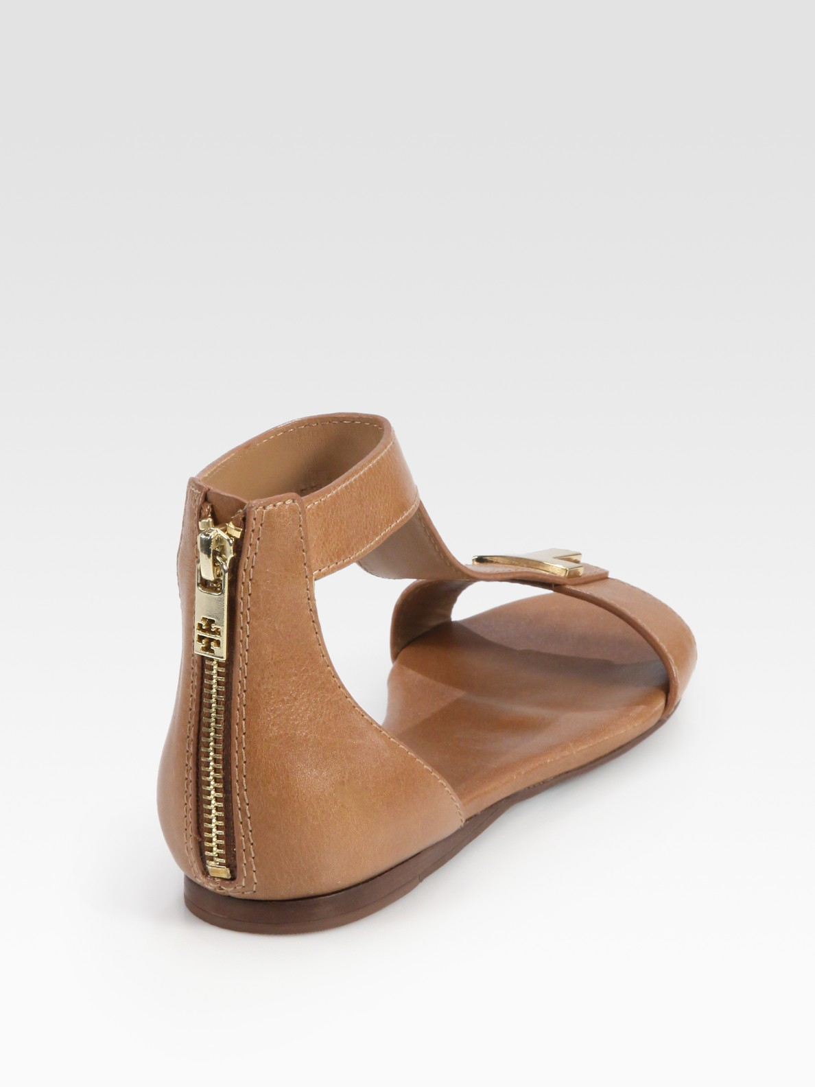 8f1915065 Lyst - Tory Burch Casey Leather T-strap Zip Sandals in Brown