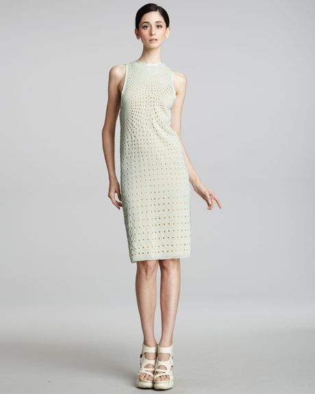Vera Wang Eyelet Shift Dress in Green (mint)