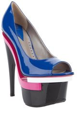 Versace Peep Toe Shoe in Blue - Lyst