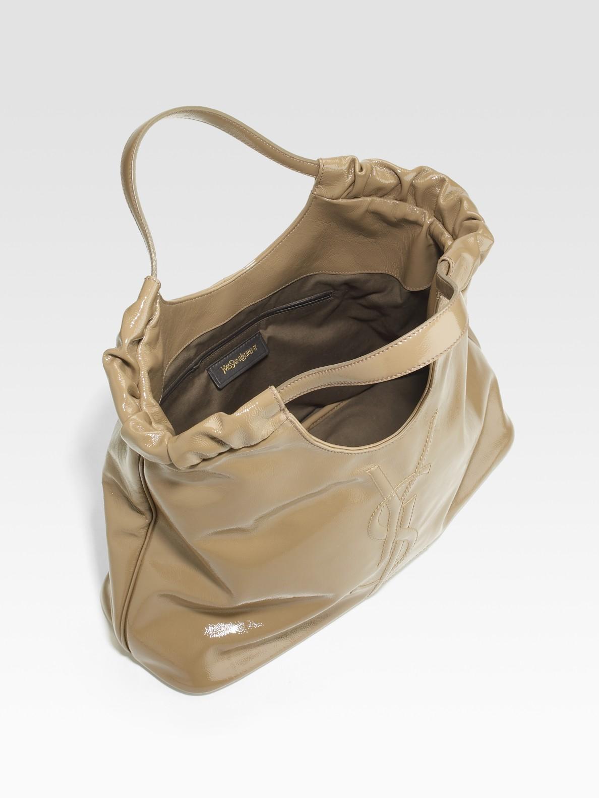 79fe5ebee6 Lyst - Saint Laurent Ysl Belle De Jour Medium Patent Leather Shopping Bag  in Brown