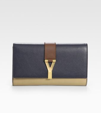 Yves Saint Laurent Ysl Chyc Colorblocked Clutch - Lyst
