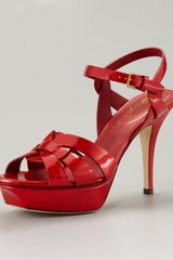 Yves Saint Laurent Tribute Platform Sandal, Poppy - Lyst