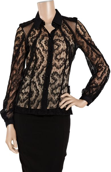 Zac Posen Lace Blouse in Black - Lyst