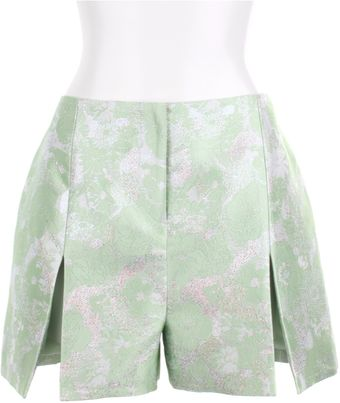 Christopher Kane Green and Grey Floral Silk Brocade Shorts - Lyst