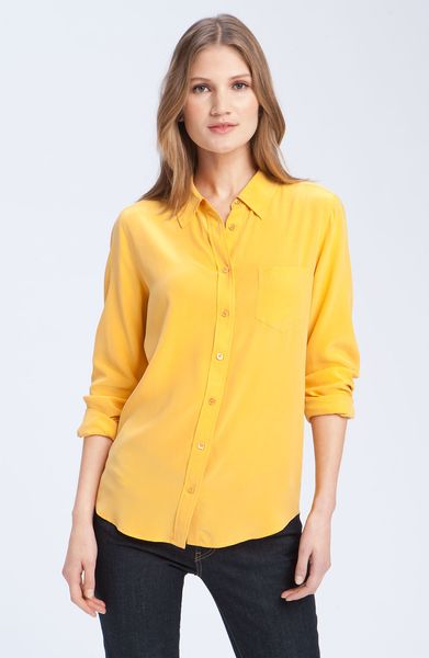 Equipment Brett Silk Top in Yellow (golden poppy)