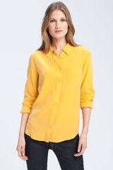 Equipment Brett Silk Top in Yellow (golden poppy) - Lyst