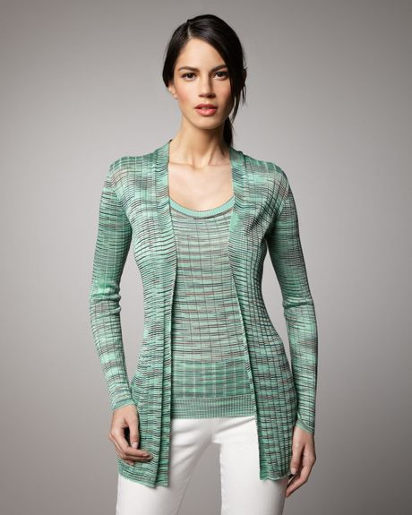 M Missoni Ribbed Spacedye Cardigan in Green (mint) - Lyst