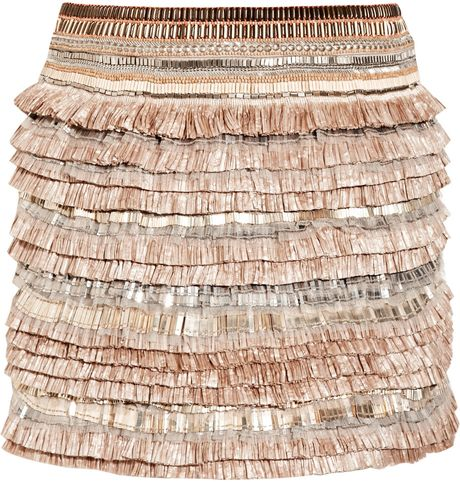 Matthew Williamson Embellished Linenblend Skirt in Beige - Lyst