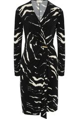 Michael by Michael Kors Printed Wrap-effect Stretch-jersey Dress - Lyst
