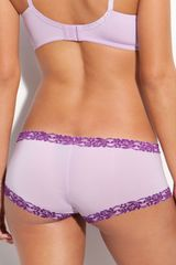 Natori Lace Trim Boyshorts in Purple (lilac rose) - Lyst