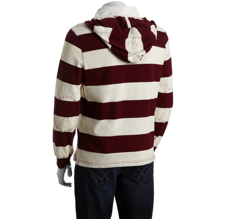 b8c7cf5a ... release date lyst polo ralph lauren classic wine stripe cotton hooded  rugby 796aa 4a536