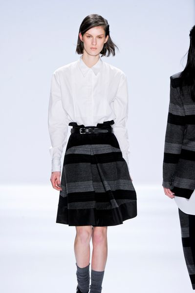 Richard Chai Fall 2012 Striped Skirt with Large Pleats in Gray (black, grey) - Lyst