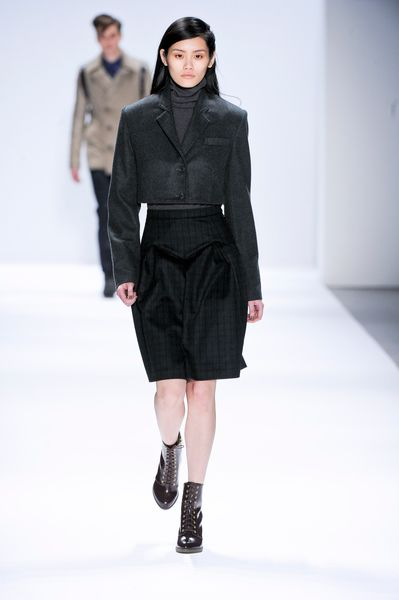 Richard Chai Fall 2012 Plaid Knee Length Skirt  in Gray (black) - Lyst