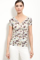 St. John Collection V-neck Floral Print Jersey Top - Lyst