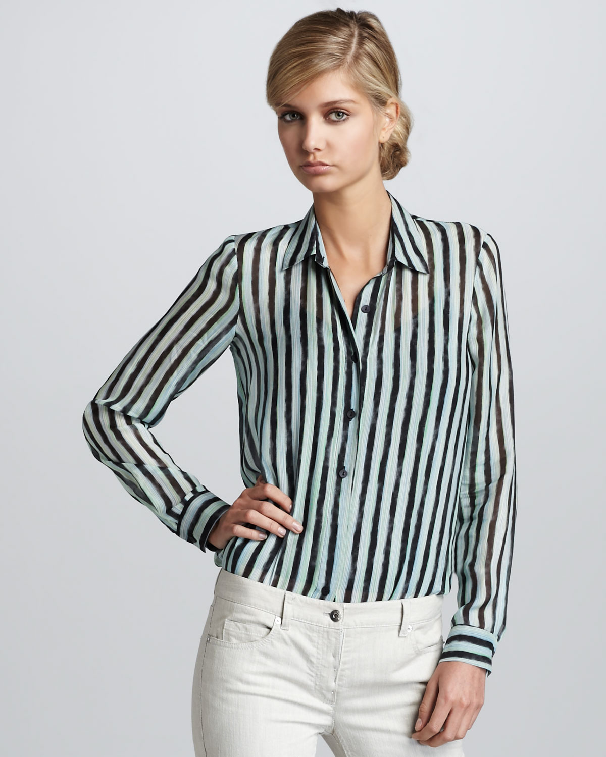 2bc7e7e45ee97 Lyst - Theory Striped Silk Blouse in Black