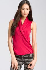 Theory Denora - Poignant Sleeveless Silk Surplice Top - Lyst