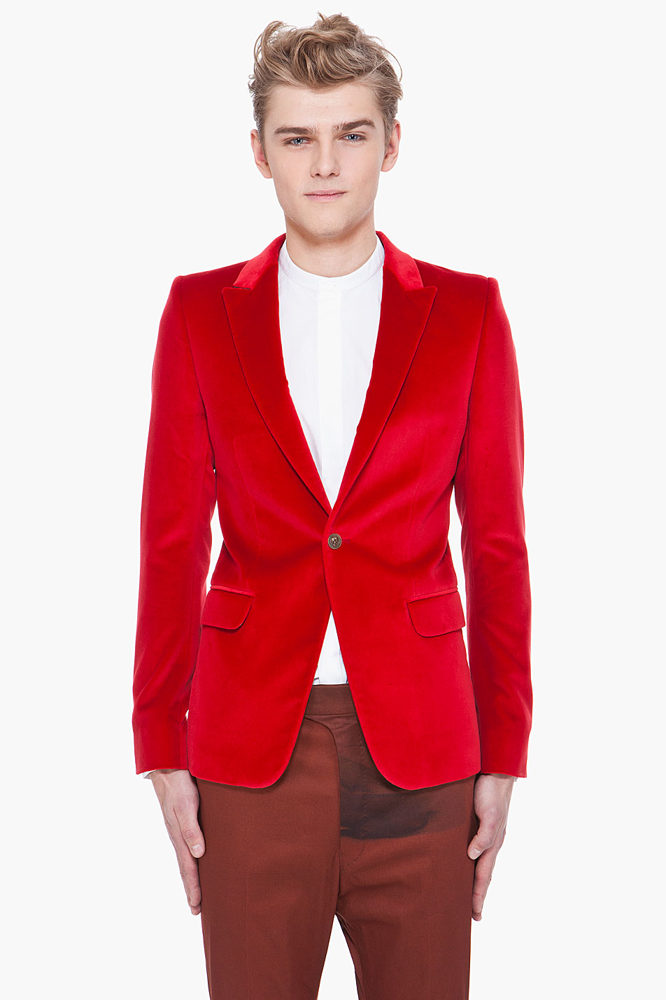 Alexander mcqueen Red Velvet Amq Blazer in Red for Men | Lyst