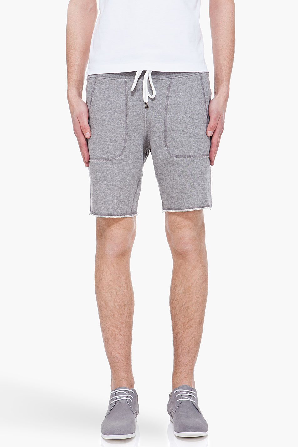93f00fdd6912 Lyst - Moncler Grey Cutoff Sweat Shorts in Gray for Men