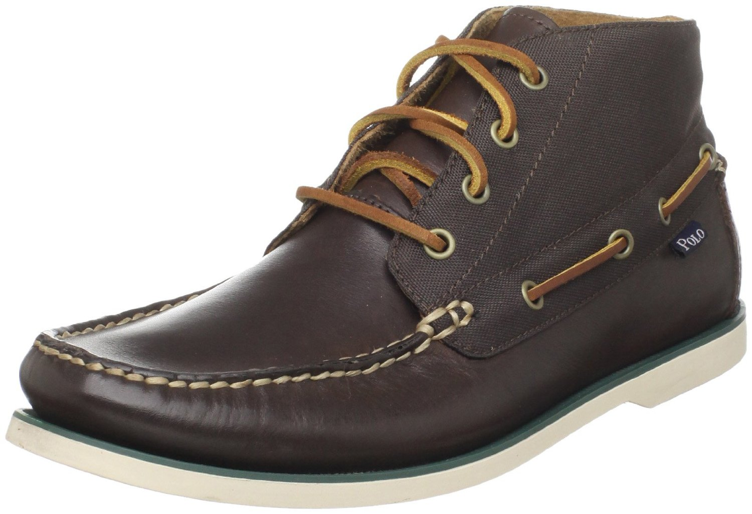 polo ralph mens brawley boat shoe in brown for