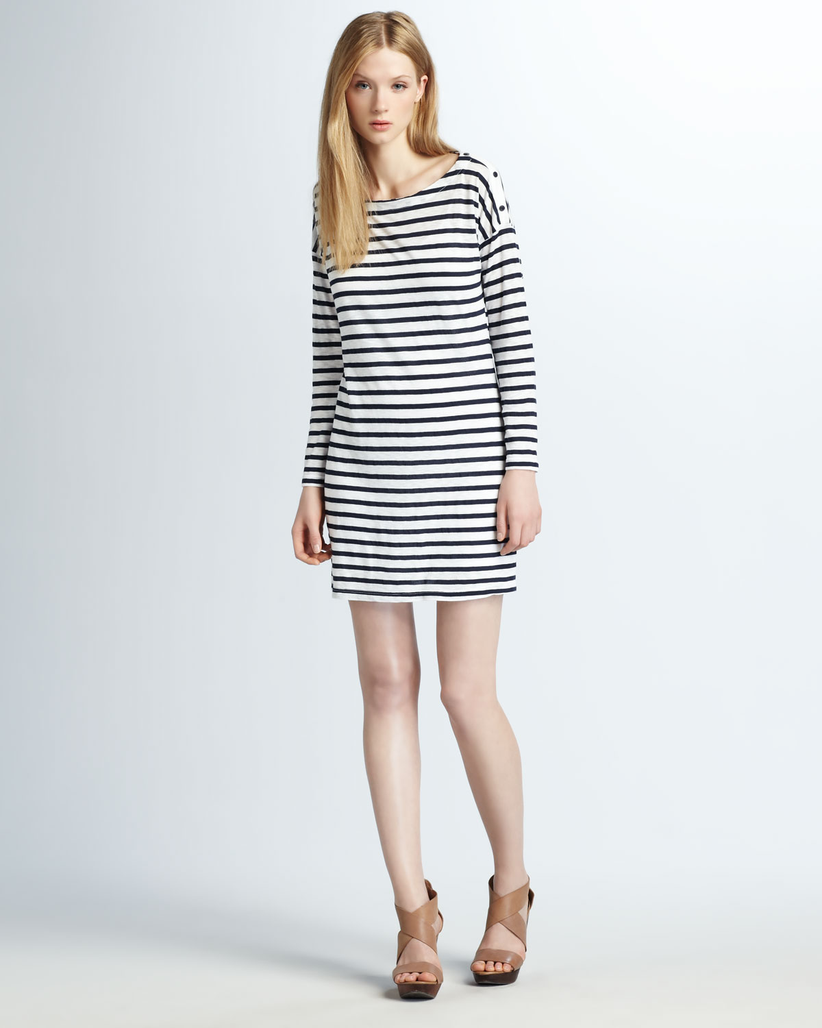 Lyst - Splendid Striped Knit Dress in White 76a91faaf5