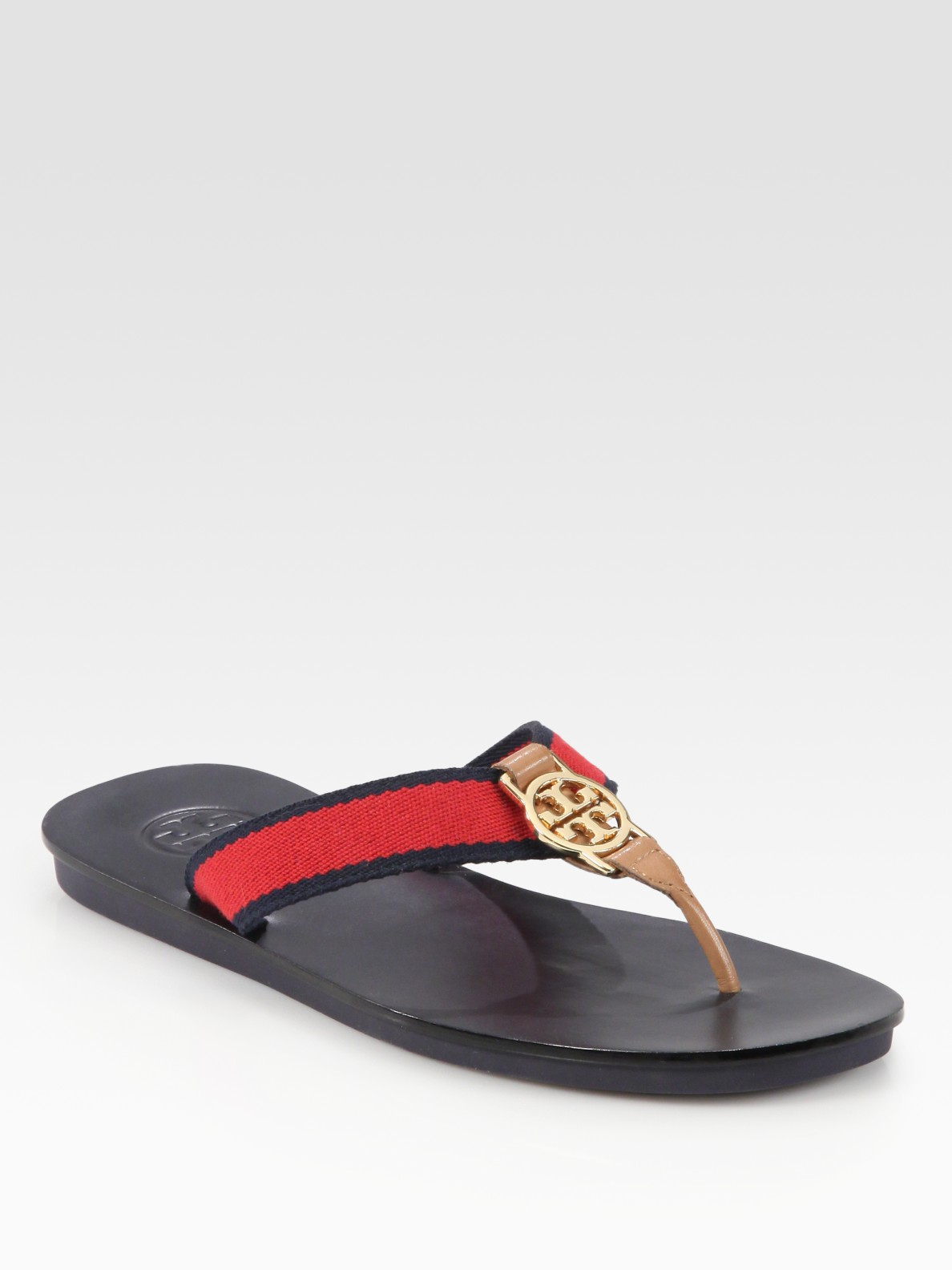 17dd823b98c Lyst - Tory Burch Lise Leather-trim Canvas Logo Thong Sandals in Red