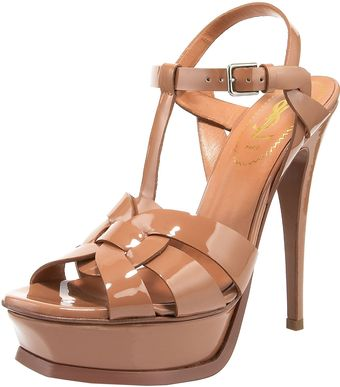 Yves Saint Laurent Tribute Patent Sandal, Black - Lyst