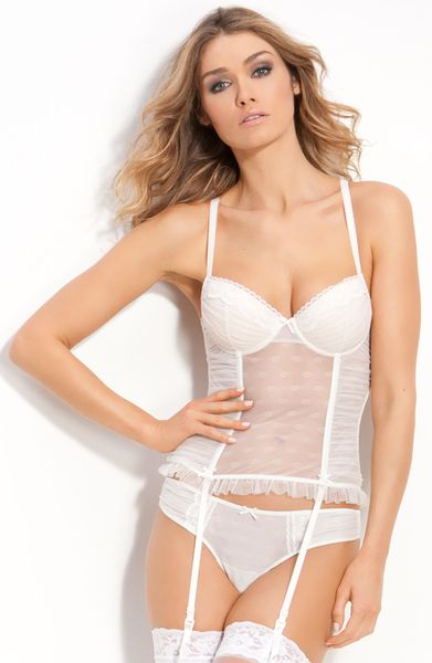 Betsey Johnson Dotted Tulle Corset in White (pearl) - Lyst