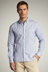 Vince Striped Chambray Shirt - Lyst