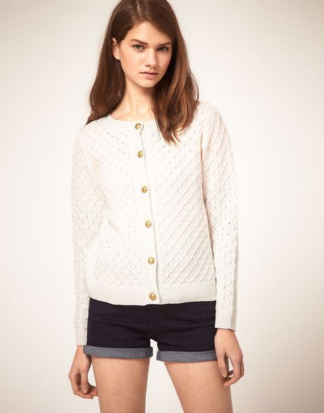 Asos Collection Asos Cardigan in Honeycomb Stitch in White - Lyst
