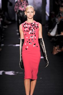 Diane Von Furstenberg Fall 2012 Sleeveless Knee Length Pencil Dress In Pink With Jig Saw Pieces  - Lyst