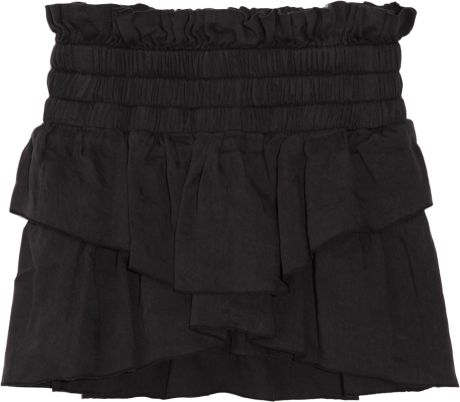 Etoile Isabel Marant Ines Tiered Linenblend Mini Skirt in Black - Lyst