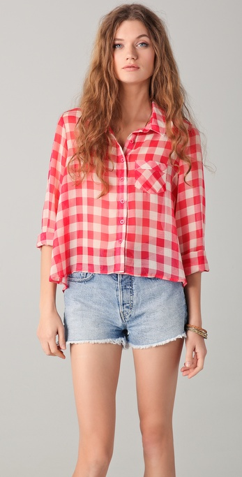 Free People  The Lovely Day Button Down Blouse in Ivory     Piper