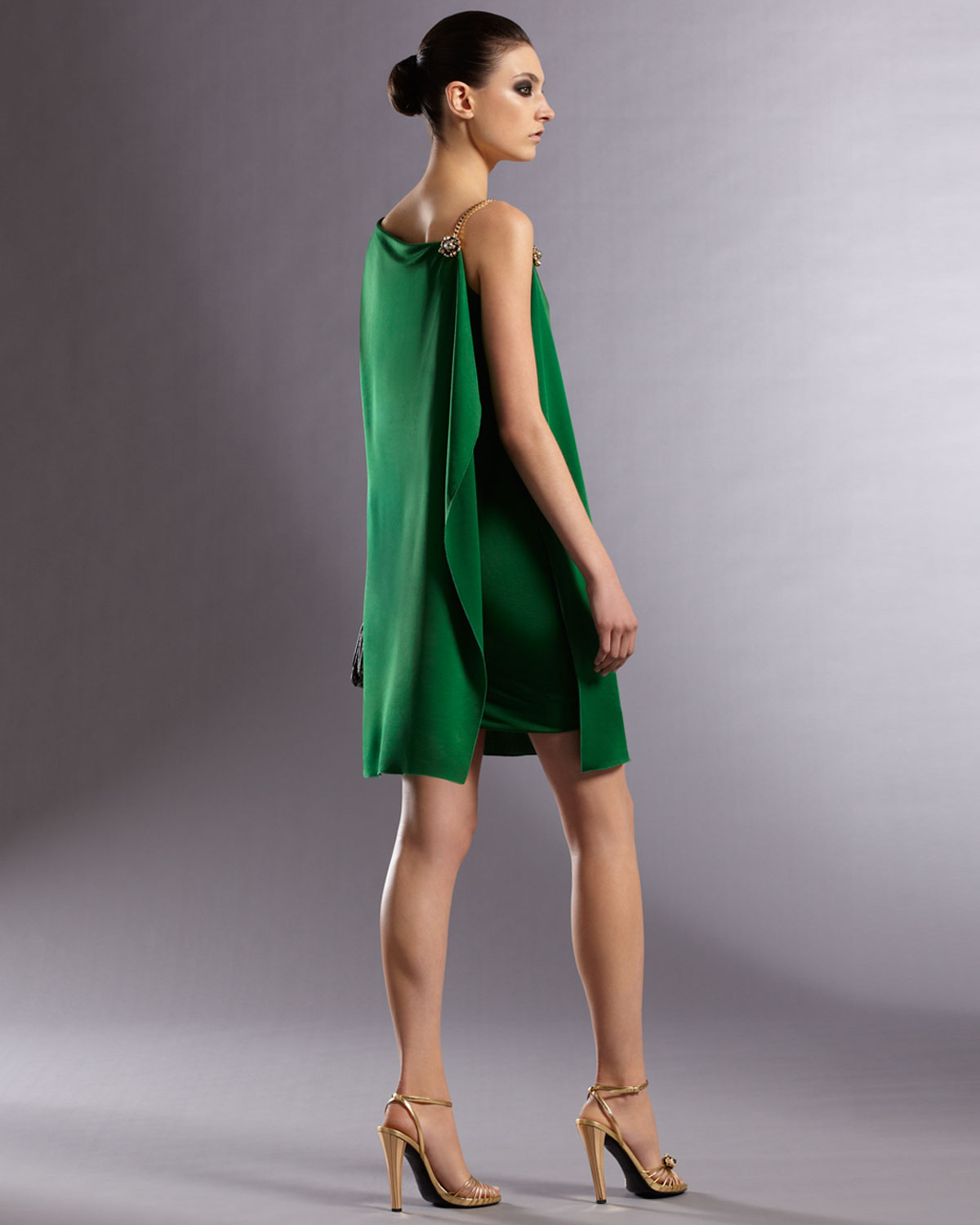 Lyst Gucci Asymmetric Dress In Green