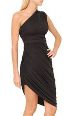 Halston Heritage One Shoulder Draped Dress in Black - Lyst